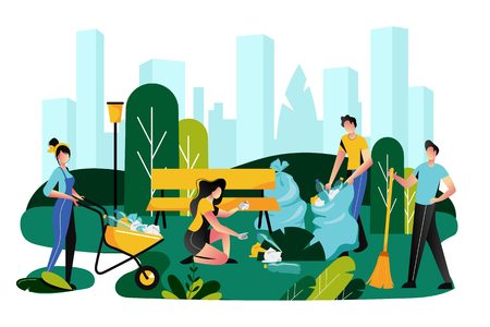 Volunteering, charity social concept. Volunteer team of young people are sweeping and cleaning garbage on lawn of city park, vector flat illustration. Ecological lifestyle.