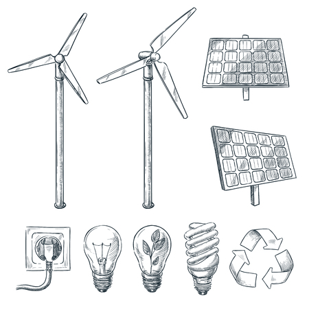 Alternative eco and renewable energy sources. Vector hand drawn sketch illustrations. Wind generator and solar battery symbol isolated on white background. Stock Illustratie