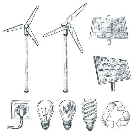 Eco alternative e fonti energetiche rinnovabili. Illustrazioni di schizzo disegnato a mano di vettore. Generatore eolico e simbolo della batteria solare isolato su priorità bassa bianca.