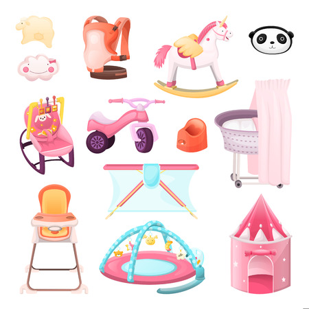 Baby essentials goods set. Vector icons and design elements. Color kids stuff for playing, feeding, nursery. Children shop cartoon illustration. Illustration