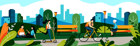 People in city park. Vector flat illustration. Spring and summer weekend leisure activity concept. Nature background. Illustration
