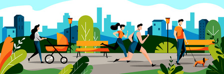 People in city park. Vector flat illustration. Spring and summer weekend leisure activity concept. Jogging couple and mom with baby in stroller walks in park.