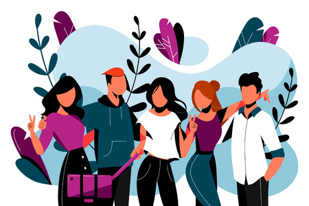 Five happy friends make selfie photo. Friendship vector flat illustration. Young people have a fun event together. Illustration