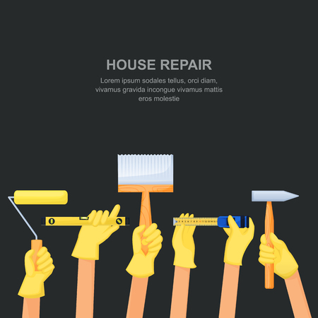 Human hands with home repair tools and equipment. House building banner or poster design template. Vector cartoon illustration on black background.