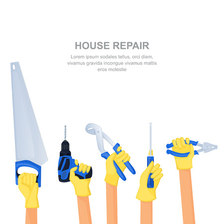 Human hands with home repair tools and equipment. House building banner or poster design template. Vector cartoon illustration on white background. Illustration