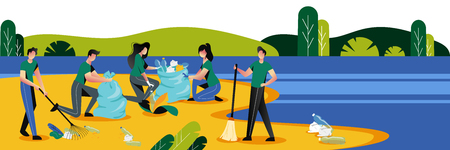 Group of young people cleaning plastic garbage on waterfront. Volunteering, ecology and environment concept. Vector flat illustration.