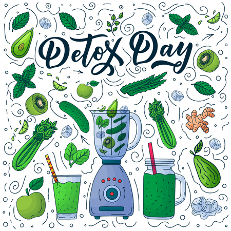 Detox fresh cocktails and smoothie bar menu design elements. Vector illustration. Hand drawn calligraphy lettering and vegetarian organic green food.