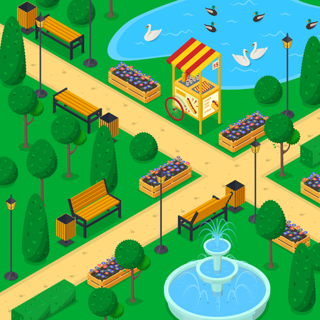 City park landscape, 3d isometric vector illustration. Urban garden alley, benches, pond and green trees. Spring or summer outdoor background.