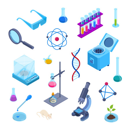 Science lab and chemistry research vector 3d isometric symbols. Isolated trendy flat icons set. Laboratory equipment collection for chemical experiments.