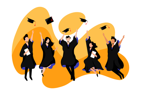 Happy young students graduate from university or college. Vector flat illustration. Exams, education and graduation concept. Illustration