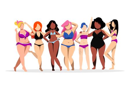 Happy women with different figures and skin colors. Body positive concept. Vector flat illustration. Plus size cartoon girls in bikini swimsuits. Vektoros illusztráció