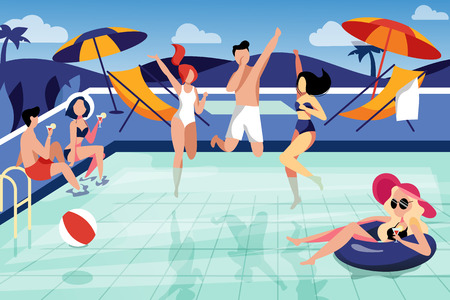 Summer pool party, vector flat illustration. Happy young friends have a vacation by the swimming pool.