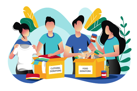 Food and clothes donation. Vector flat illustration. Social care and charity concept. Volunteer people collect donations into boxes.