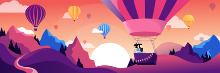 Couple flying hot air balloon above mountains. Air balloon festival vector flat illustration. Romantic summer travel concept. Illustration