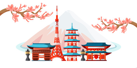 Tokyo cityscape with famous touristic landmarks. Vector flat illustration. Travel to Japan horizontal banner design. Japanese landscape with traditional houses on Fuji mountain background. Illustration
