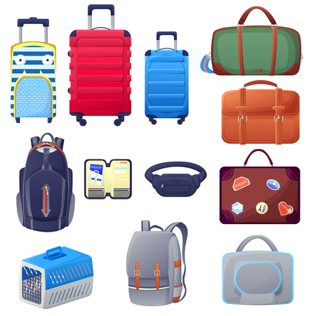 Luggage suitcase and handbags icons. Travel baggage design elements set. Vector cartoon isolated illustration.  イラスト・ベクター素材