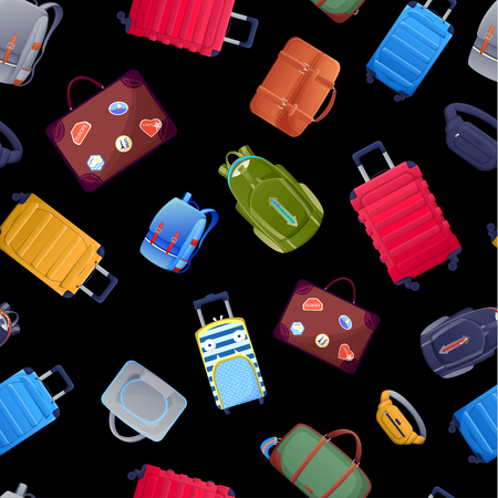 Seamless pattern with luggage suitcase and handbags. Summer travel baggage background design. Vector cartoon illustration. Illustration
