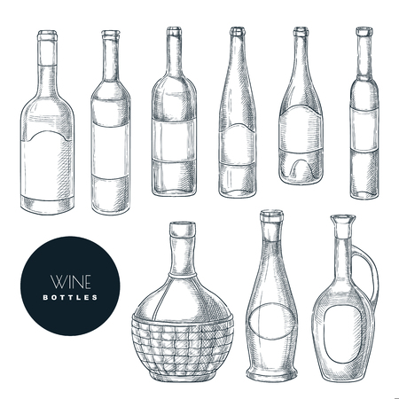 Different shapes of wine bottles. Vector sketch isolated illustration. Wine list or bar menu hand drawn design elements set. Illustration