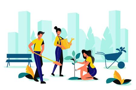 City park landscaping. Spring or summer outdoor works. Team of volunteer planting in town garden. Vector flat illustration. Illustration