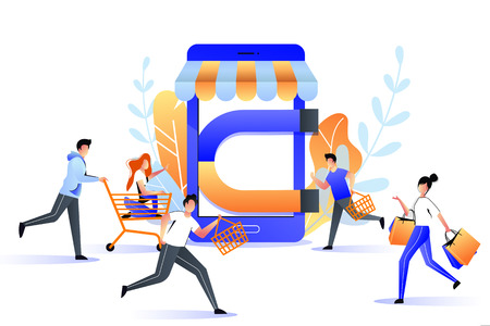 Attraction buyers to online store sale. Big magnet attracts customers, marketing business strategy concept. Vector trendy flat illustration.