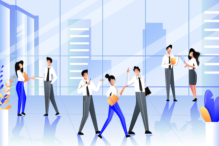Business people in modern building of corporate office. Team communication, meetings and work process. Vector trendy flat illustration. Illustration