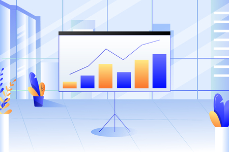 Modern corporate office interior. Presentation report with diagram, charts and graph on office board. Business strategy and financial analysis concept. Vector trendy flat illustration.