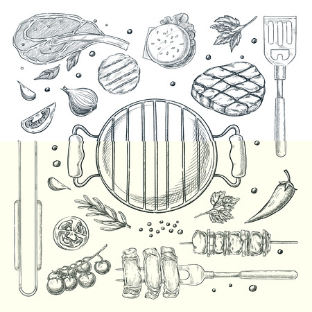 BBQ and grill vector sketch illustration. Top view objects set, isolated on white background. Barbecue food, equipment and tools. Picnic menu design elements.
