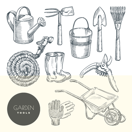 Gardening and farming tools set. Agriculture equipment, vector hand drawn sketch illustration. Garden icons and design elements isolated on white background. Illustration