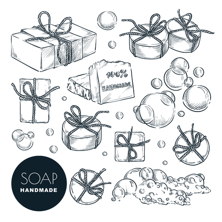 Hand made natural soap bar set. Bath and spa, hand drawn design elements isolated on white background. Vector sketch illustration. 矢量图像