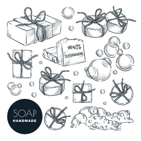 Juego de pastillas de jabón natural hecho a mano. Baño y spa, elementos de diseño dibujados a mano aislados sobre fondo blanco. Ilustración de dibujo vectorial.