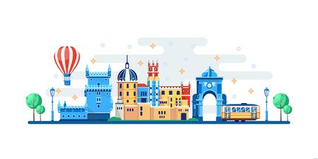 Lisbon cityscape with famous touristic landmarks. Vector flat illustration. Travel to Portugal horizontal banner design elements.