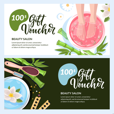 Pedicure gift card, voucher, certificate or coupon vector design layout. Discount banner template for beauty salon and spa procedures.