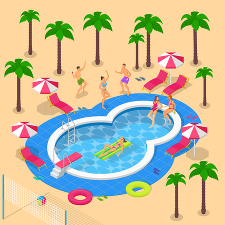 Summer vacation in hotel resort. Vector 3d isometric illustration. Summer pool party design elements. Happy young friends have a fun by the swimming pool. Illustration