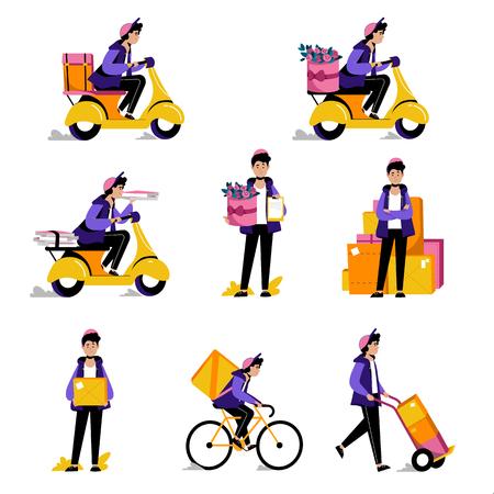 Servizio di consegna pacchi, cibo o fiori tramite corriere. Illustrazioni vettoriali piatte. Uomo con confezione su bici e scooter. Vettoriali