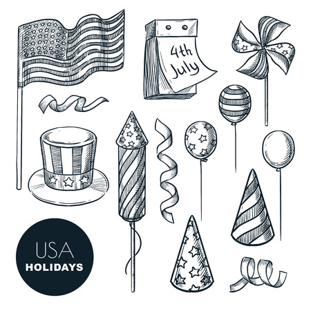 USA national holidays symbols. Vector sketch illustration. Isolated hand drawn design elements for USA Independence Day. 4 of July celebration icons.