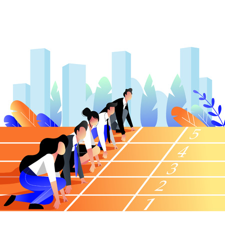 Business people race concept. Business people lined up getting ready for running on stadium sports track. Vector trendy flat illustration. 일러스트