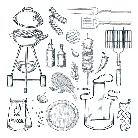 BBQ and grill vector sketch illustration. Barbecue set, isolated on white background. Food, utensil equipment and tools. Picnic menu design elements. 일러스트