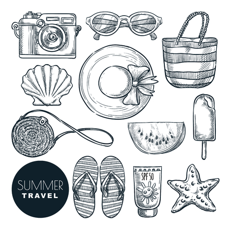 Summer travel essentials, vector sketch illustration. Hand drawn fashion accessories for beach vacation. Icons and design elements set isolated on white background. 向量圖像
