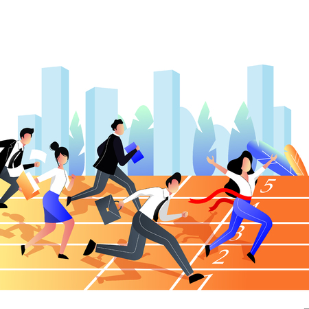 Business competition and win concept. Group of business people race on the stadium sports track. Vector trendy flat illustration. 스톡 콘텐츠 - 131429728