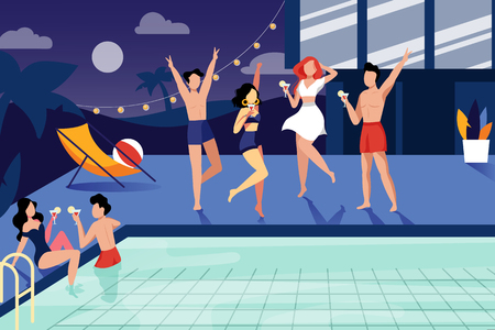 Summer night pool party. Happy young people have a rest by the swimming pool. Vector flat illustration.