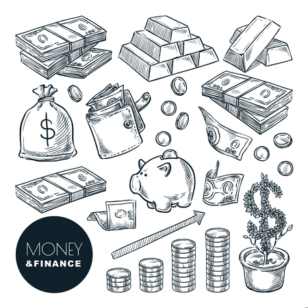 Geld- und Finanzvektorskizzenikonen. Bank, Zahlung, Investition und Handel handgezeichnete isolierte Gestaltungselemente. Vektorgrafik