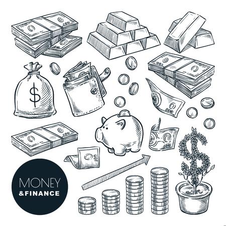 Icone di schizzo di vettore di denaro e finanza. Elementi di design isolati disegnati a mano di banca, pagamento, investimento e commercio. Vettoriali