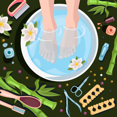 Female feet in bowl with clean water, top view vector cartoon illustration. Spa procedures, pedicure and relax. Beauty salon concept. Illustration