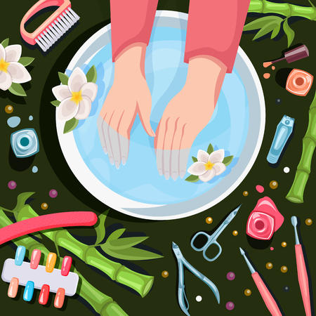 Female hands in bowl with clean water, top view vector cartoon illustration. Spa procedures, manicure and relax. Beauty salon hands and nails care. Illustration