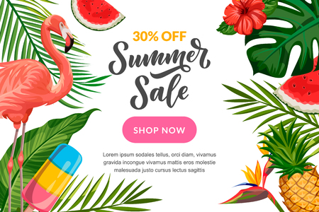 Summer vector white background with flamingo, palm tropical leaves, pineapple and hand drawn calligraphy lettering. Sale banner, flyer or poster design template. Иллюстрация