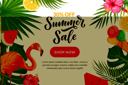 Tropical summer vector background. Sale banner, flyer or poster design template with hand drawn calligraphy lettering. Green palm tropical leaves, pink flamingo, watermelon and ice cream. Stock Illustratie