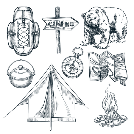 Camping vector sketch illustration. Camp stuff design elements isolated on white background.