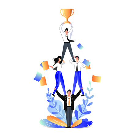 Successful teamwork and support business concept. Vector trendy flat illustration. Businessmen acrobats standing in pyramid and holding team leader with prize cup on top.