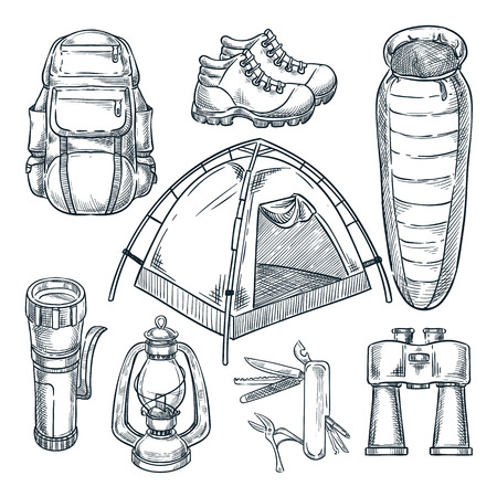 Camping and hike items set. Vector hand drawn sketch illustration. Camp stuff design elements isolated on white background.