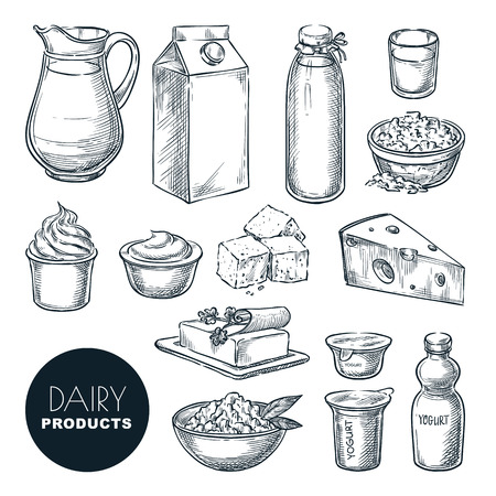 Dairy farm fresh products set. Vector hand drawn sketch illustration. Milk bottle, cottage cheese, yogurt package, butter icons. Ilustração